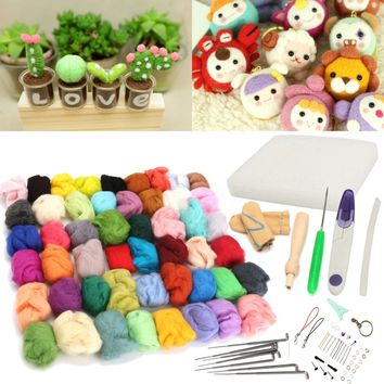 Mayitr 50 Colors Soft Wool Felt + Felting Needles Tool Set Mat Starter DIY Kit Craft For DIY Arts Doll Crafts Home Sewing Tools