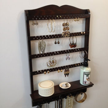 "Jewelry Shelf, Earring Organizer, ""You Choose The Stain"" , Jewelry Holder, Necklace Display, Oak Wood, Post Hoop French Hooks, Wall Mount"