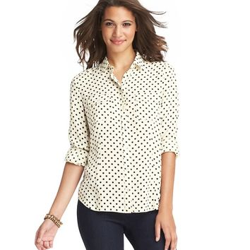Petite Polka Dot Long and Lean Button Down Shirt