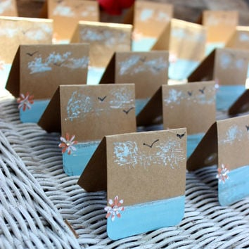 Hand Painted Beach Wedding Place Cards , DIY , Coastal Wedding Decoration , Beach Shower