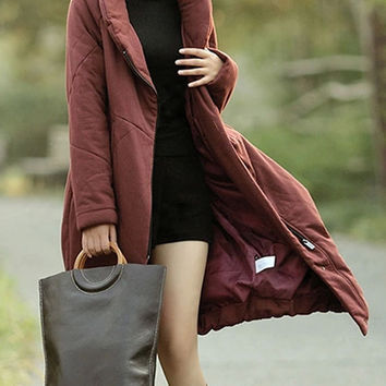 Women stand collar Jacket Winter coat Warm Coat Long warm Jacket Cropped Jacket Zipped Coat (WJ11149)