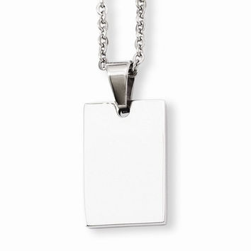 Stainless Steel Engravable Dog Tag Pendant On Necklace