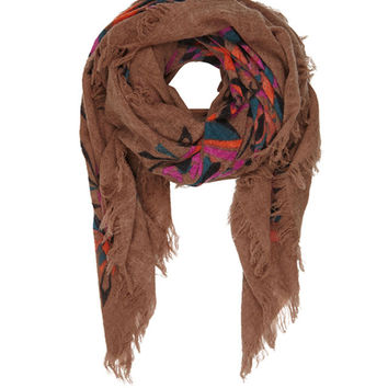 Multi Coloured Bella Ballou 'Crystal Clear Mind' Printed Wool Scarf