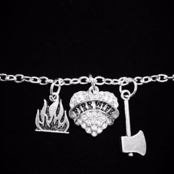 Crystal Fire Wife Heart Axe Flame Gift Firefighter Wife Fireman Charm Bracelet