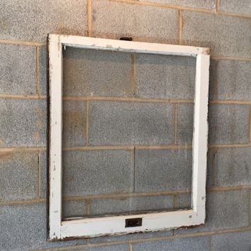 Vintage 1 Pane Window Frame - 28 x 32, White, Rustic, Antique, Wood, Wedding, Engagement, Home, Photos, Picture Frame, Holiday, Decor