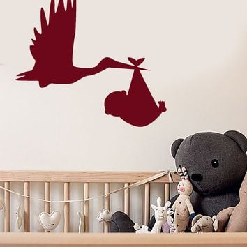 Vinyl Wall Decal Cartoon Bird Stork With Baby Room Decor Stickers (2719ig)