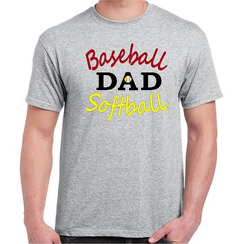 Baseball Shirts; Baseball Softball Dad Cotton Crew Neck Tee