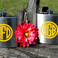 Set of 12 - Personalized 6oz Flasks - Stainless Steel - Perfect for Groomsmen Gifts, Best Man, Bridesmaid Gifts, Maid of Honor Monogram