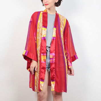 Vintage 1980s Robe Jacket Red Yellow Pink Striped Floral Semi Sheer Duster Jacket 80s Lingerie Robe Kimono Jacket Draped Layering L Large XL