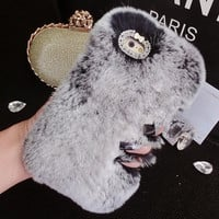 Handmade Genuine Rabbit Fur Winter Warm Case for iPhone 5s 6 6s Plus