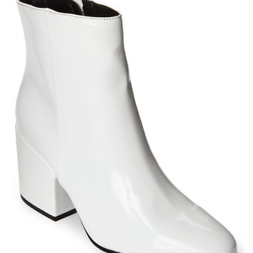 White Arcade Patent Block Heel Booties
