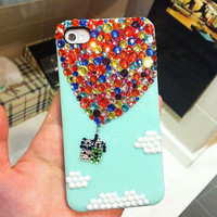 Handmade Bling sparkle diamond crystal pearl Rhinestone iPhone 5s  5 4s case cover Hot Air Balloon Mint
