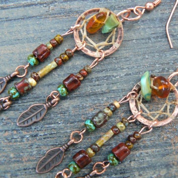 copper and green turquoise dreamcatcher fall earrings