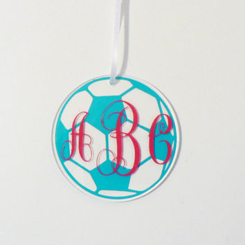 Monogram Soccer Christmas Tree Ornament, Soccer Ball Ornament with Monogram Name or Saying, Teen Gift, Stocking Stuffer, Acrylic Ornament
