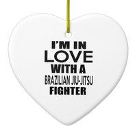 I'M IN LOVE WITH BRAZILIAN JIU-JITSU FIGHTER Double-Sided HEART CERAMIC CHRISTMAS ORNAMENT