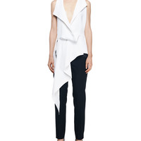 Balenciaga Sleeveless Asymmetric Drape Blouse