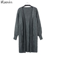 Ksenia Twist Casual Loose Cardigan Winter 2017 Autumn New V Neck Long Cardigan Sweater Women Oversize Poncho Knitted Wear Jumper