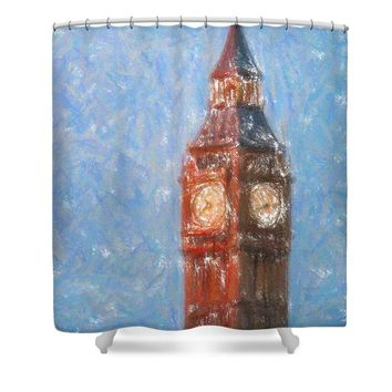 Pastel Painting Of Big Ben Tower In London - Shower Curtain