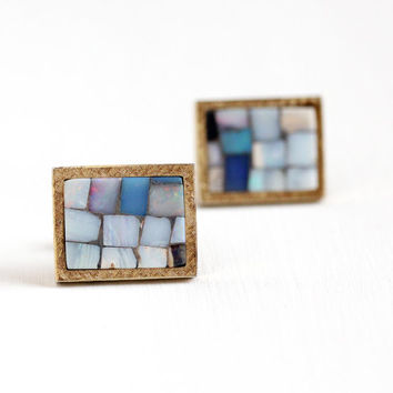 Vintage Yellow Gold Washed on Sterling Silver Opal Mosaic Cufflinks - Retro 1960s Colorful Gem Vermeil Men's Statement Cuff Link T2 Jewelry