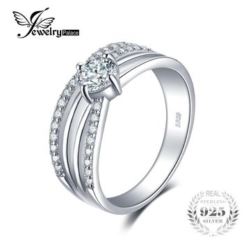 JewelryPalace Engagement Cubic Zirconia Wedding Ring 925 Sterling Silver Anniversary Birthday Gift Simulated Diamond Jewelry