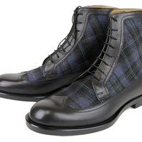 Gucci New Mens Leather/scotland Plaid Lace-up 322508 1069 Black/Blue Boots 45% off retail
