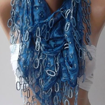 Blue/ Lace and Elegance Shawl / Scarf /with Lace Edge
