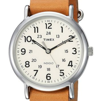 Weekender Tan Leather Strap Watch by Timex