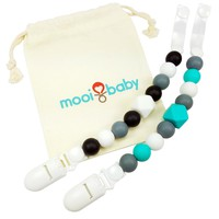Silicone Pacifier Clip Set with Bag - Black and Teal