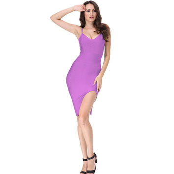 Sleek Split Mini Purple Bandage Dress