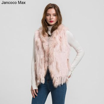 Jancoco Max 2018 New Lady Rabbit Real Fur Vests Raccoon Fur Collar Women Winter Fashion Gilet Waistcoat Ladies Coat S1700