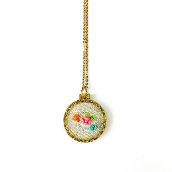 Embroidered Hoop Necklace - Gold Embroidery Hoop, Acrylic Necklace, Embroidered Jewellery, Floral Jewelry, Unique