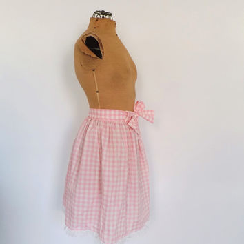 Vintage 1950s 60s Beeline Fashions Pink Gingham Cotton Eyelet Lace Striped Picnic Circle Skirt Size Small Casual Summer Turnabout A line