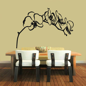 Orchid Branch Wall Decals Orchid Flower Stickers Living Room Kitchen Decor Home Decor Tree Vinyl Art Spa Wall Decor Nursery Room Decor KG367