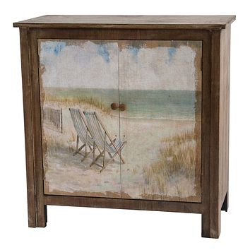 Gulf Breeze Rustic Wood Painted Canvas Beach Scene 2 Door Cabinet By Crestview Collection Cvfzr1920