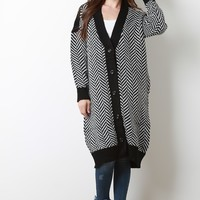 Chevron Oversized Sweater Cardigan