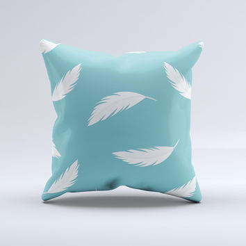 Simple White Feathered Blue ink-Fuzed Decorative Throw Pillow