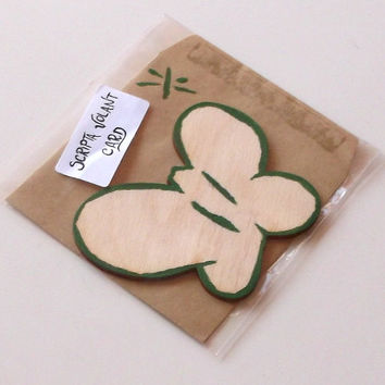 Green Wooden Butterfly Card With Envelope, Baby Shower Idea, Lasercut, Decorated by Hand