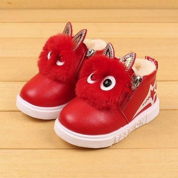 2017 Cute Winter Baby Boots Soft Velvet Sneakers Children's Autumn Toddler Ankle Felt Boots Kids Warm Snow Shoes For Boys Girls