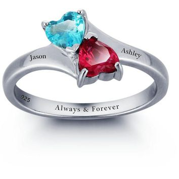 Double Heart Stone 925 Sterling Silver Personalized Infinite Love Promise Rings