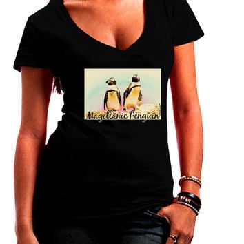 Magellanic Penguin Text Juniors V-Neck Dark T-Shirt