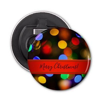 Multicolored Christmas lights. Add text or name. Bottle Opener