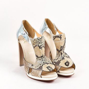KUYOU Christian Louboutin Beige, Brown, and Silver Snakeskin Leather Open Heels