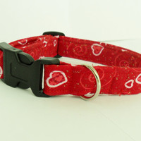 Valentine's day dog collar - adjustable, hearts, red and white, custom sizes
