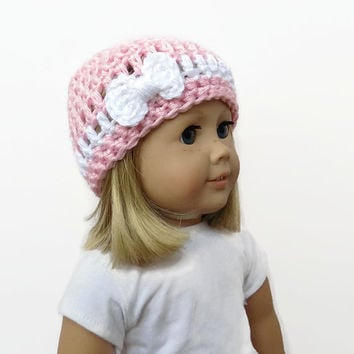 Doll Hat with Bow, 18 Inch Doll Clothes, Pink Doll Hat, Crocheted Doll Beanie