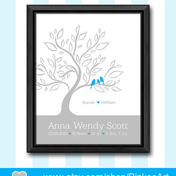 personalized baby stats bird family in a tree baby print with stats gift for new parents love birds nursery decor birth details baby decor