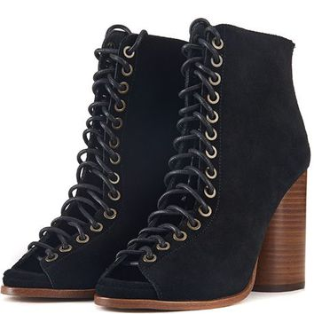 Jeffrey Campbell for Women: Free Love Black Heel Lace Up Booties