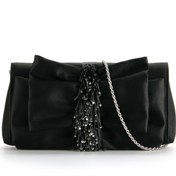 Black silk clutch with beads and sequins, evening bag, part favor