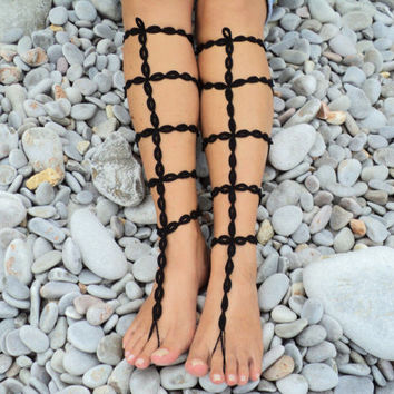 Black Crochet Barefoot Sandals Gladiator Style,Sexy Foot Jewelry,Toe Ring,Nude Shoes
