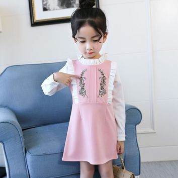 Aixinghao Girls Dress Spring Autumn School Clothes For Girls Casual Style Party Dress Teenage Vestidos Children 8 10 12 Year