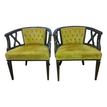 Pre-owned Hollywood Regency Tufted Barrel Back Chairs - Pair